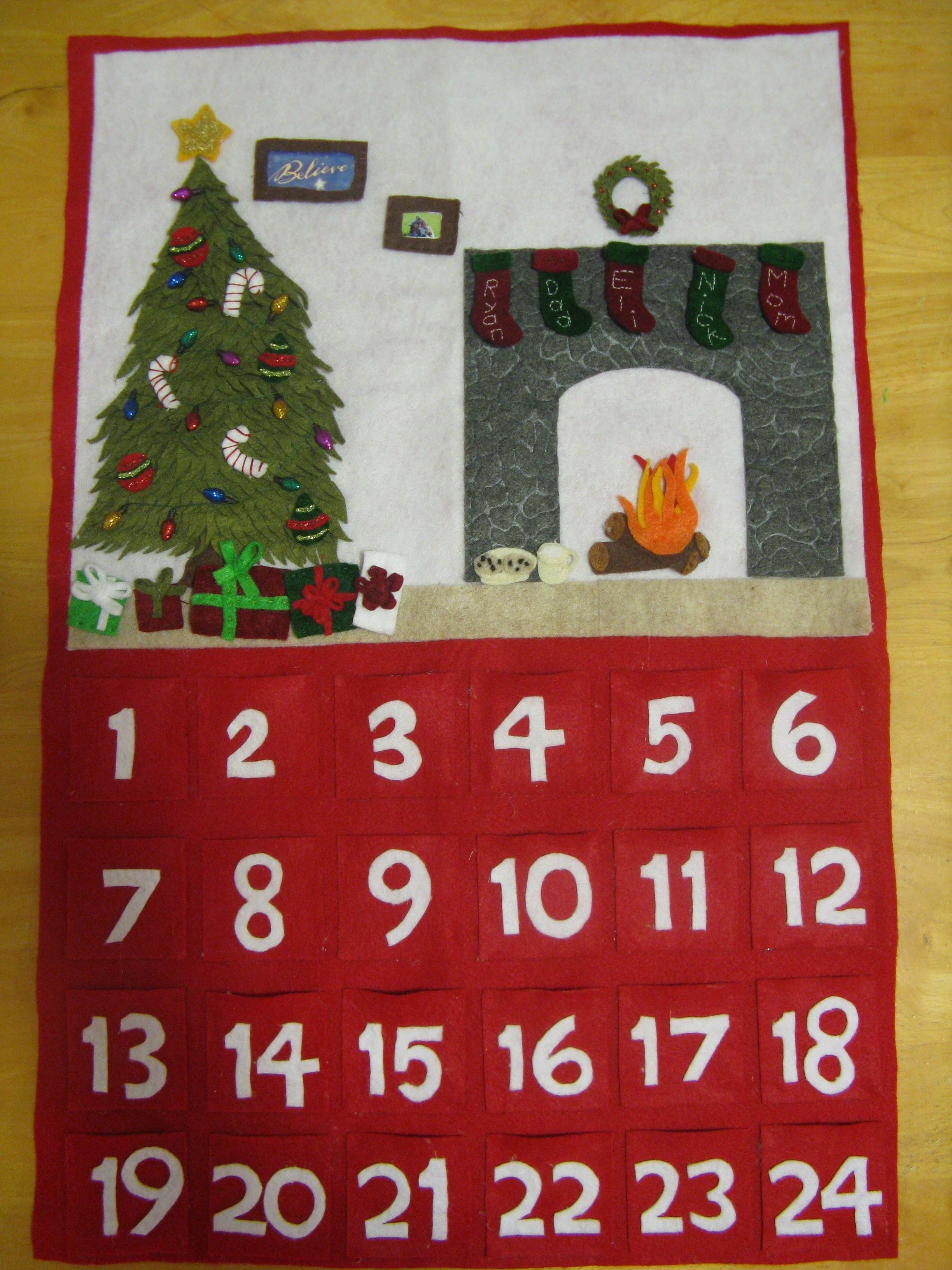 Felt Advent Calendar Empty Room Filled Up With Decorations By Christmas Eve Christmas Advent Felt Advent Calendar Advent Calendar Holiday