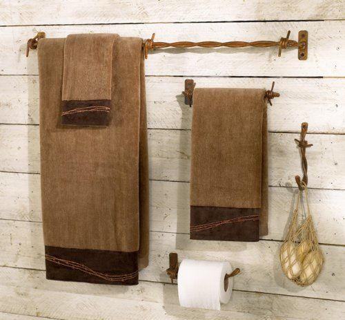 Barbed Wire Bath Hardware Set 4 Pcs By Black Forest Decor Http Www Amazon Com Rustic Bathroom Accessories Western Bathroom Decor Rustic Bathroom Hardware