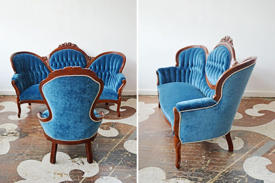 We Reupholstered Our Client S Victorian Reproduction Settee And Companion Side Chair In Robert Allen