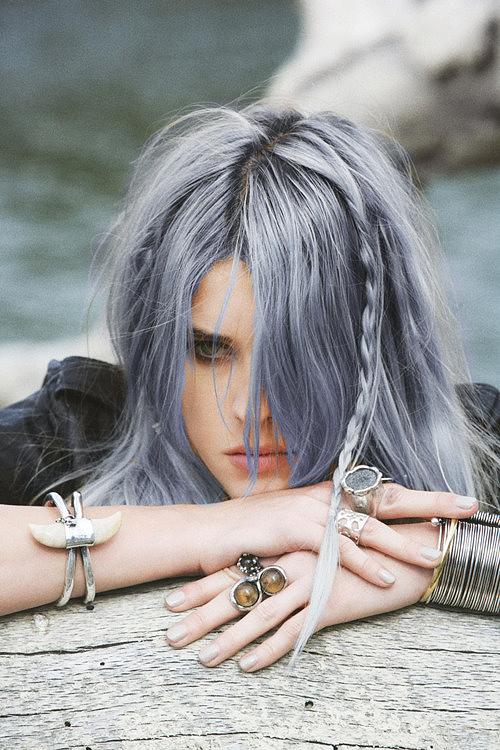 Long grey hair with purple tinge
