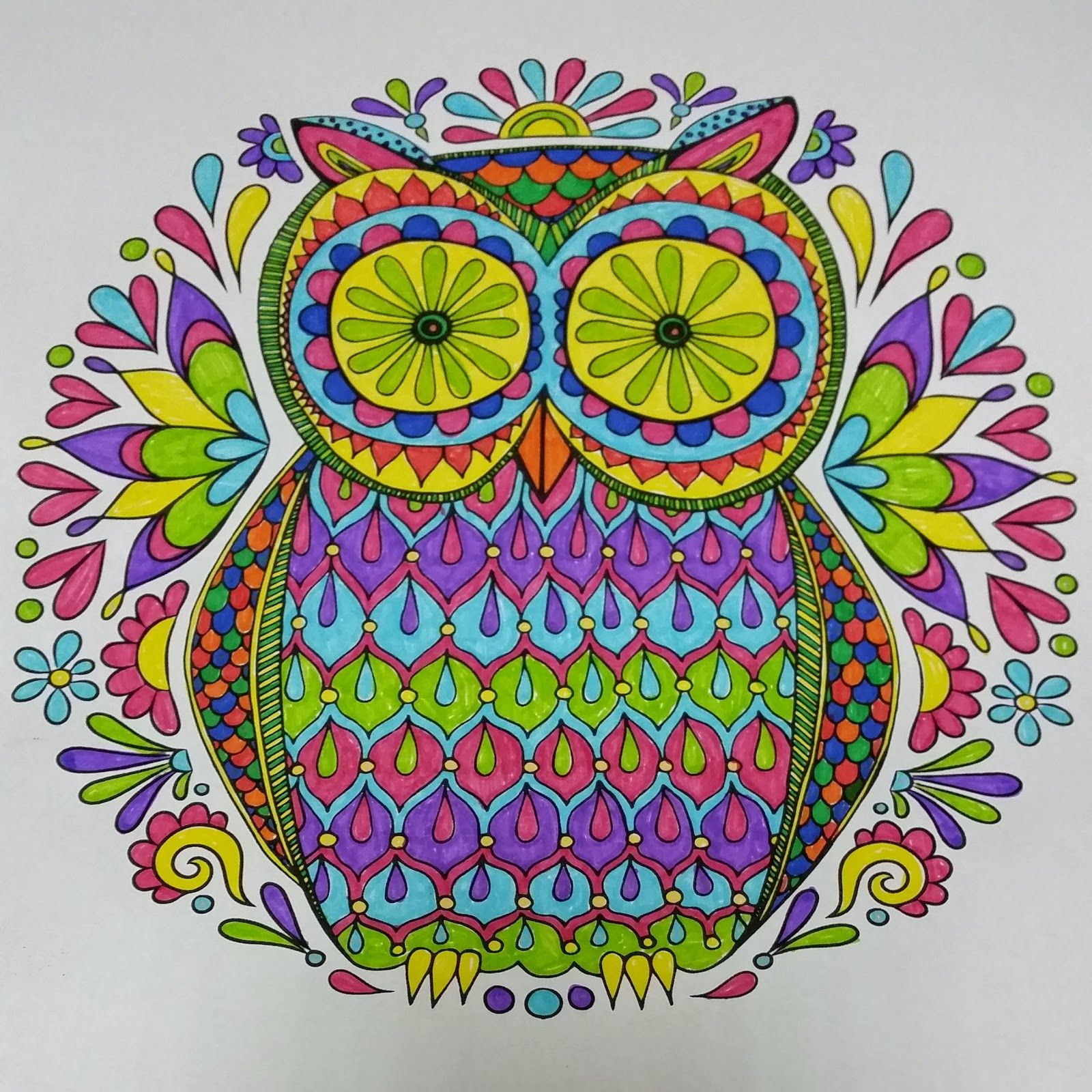 18 Owl Coloring Pages Finished - Printable Coloring Pages