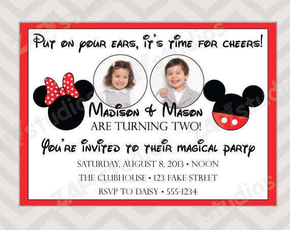 Mickey and Minnie Mouse Twins Joint Birthday Party by ZAPStudios – Mickey and Minnie Party Invitations