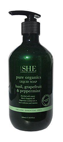 Om She Aromatherapy Pure Organics Hand Wash Basil Grapefruit Peppermint 169 Fl Oz 500ml Vegan Friendly Cruelty Free No Harsh Chemicals Aloe Vera Rosehip