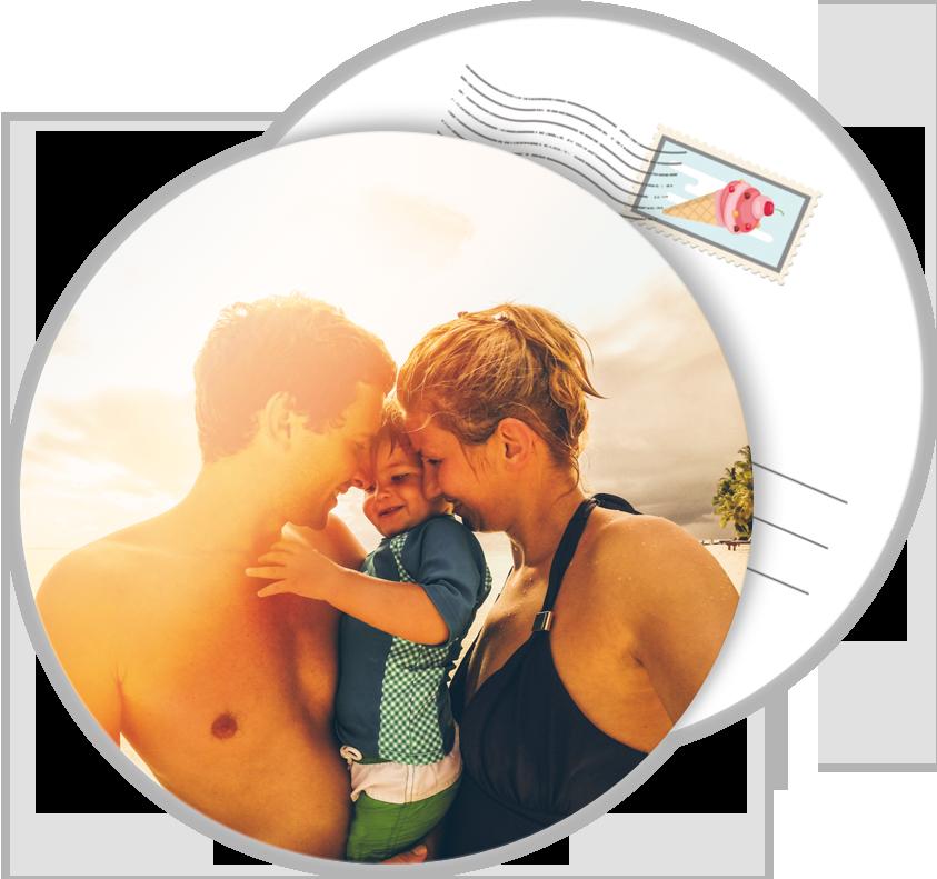 Carte postale personnalisée ronde pour des vacances inoubliables en famille dont il faut garder ...