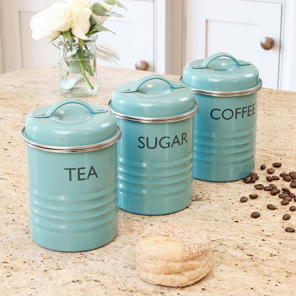tea coffee sugar pots kitchen blue metal typhoon rayware enamel