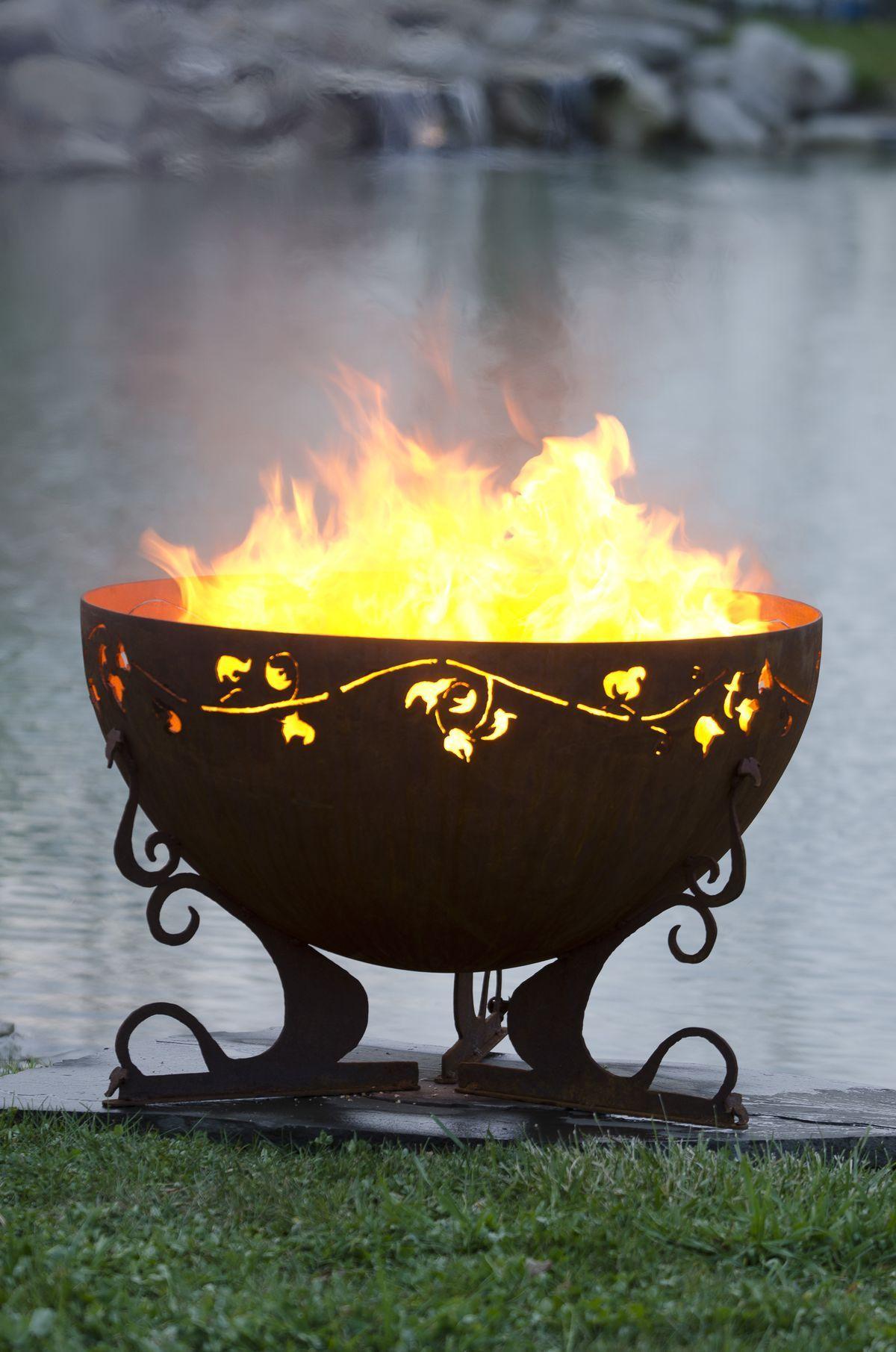 Garden fire features  The Ivy Garden Fire Pit Sculptural Steel Firebowl is u in diameter