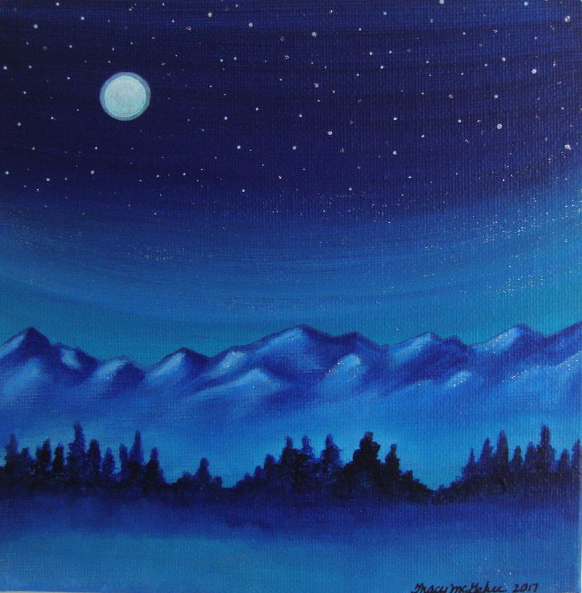 Canvas Artwork Scenic Mountain Landscape Painting Evening Moon Art Original Nature Painting Night Sky Artwork Mountain Landscape Painting Nature Paintings