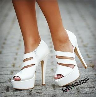 Helen Beyaz Platform Topuklu Ayakkabı