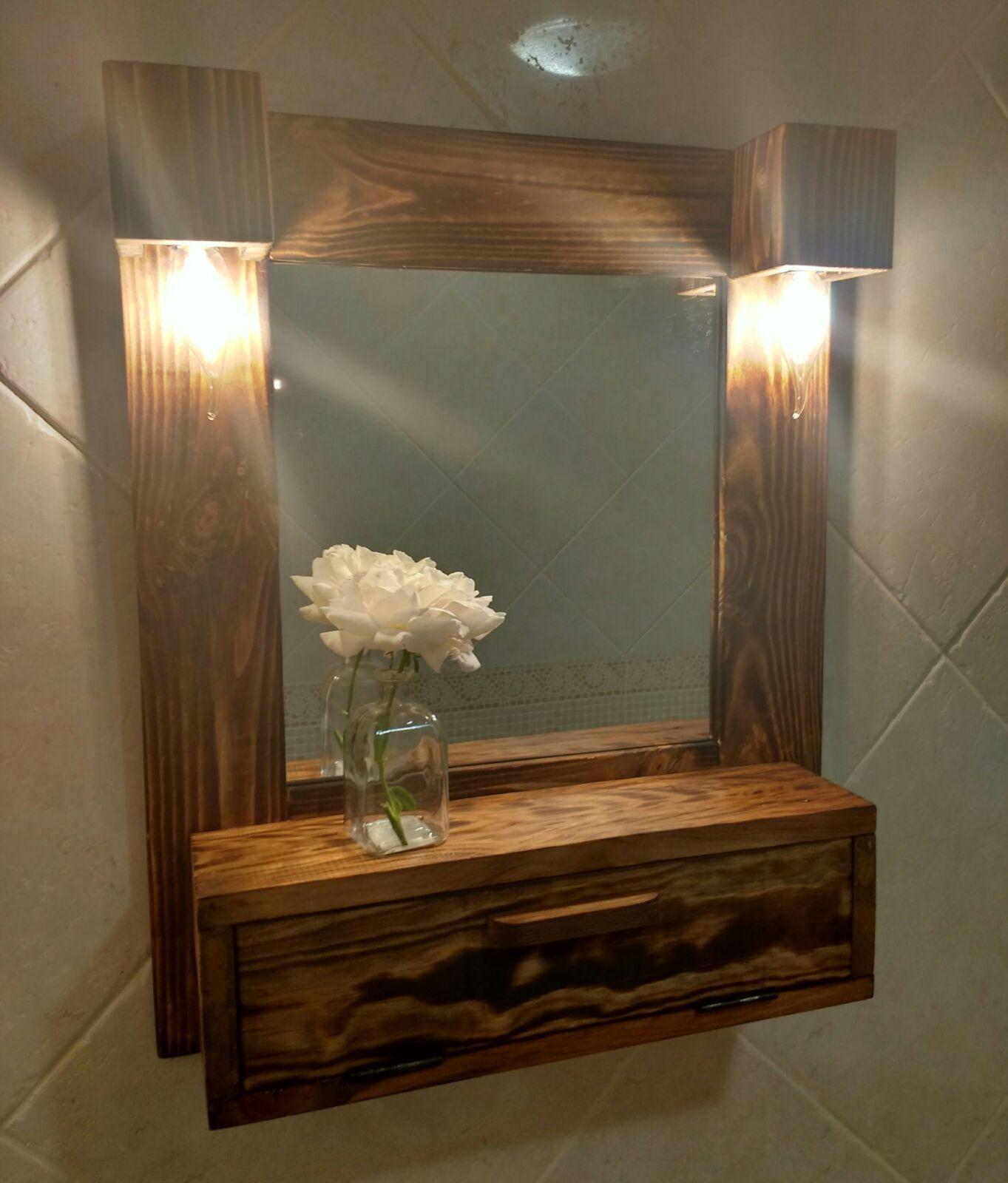 Mueble de baño con espejo y luces, de madera reciclada de ...