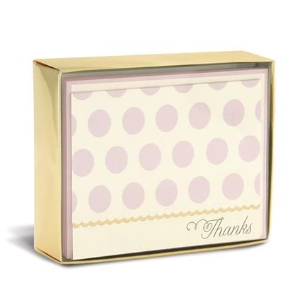 """Blush Dots 3"""" x 4"""" Folded Notes by Graphique de France. 10 thank you cards and envelopes. $10.00"""