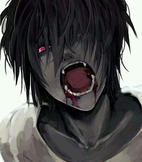 anime dark boy with red eyes blood vampire dark amp gore