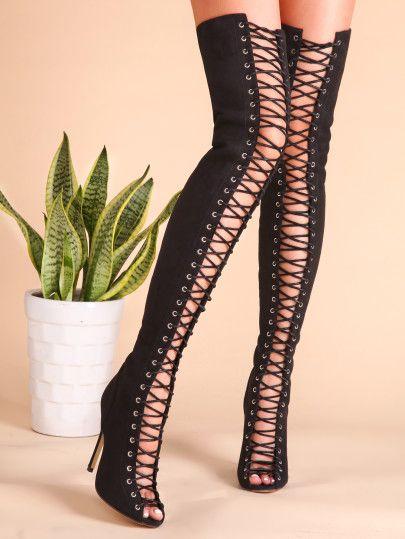Botas sobre la rodilla negras Botas sobre la mujer sandalias Zapatos de tacón alto recortadas con punta de gamuza rj0QjkXG