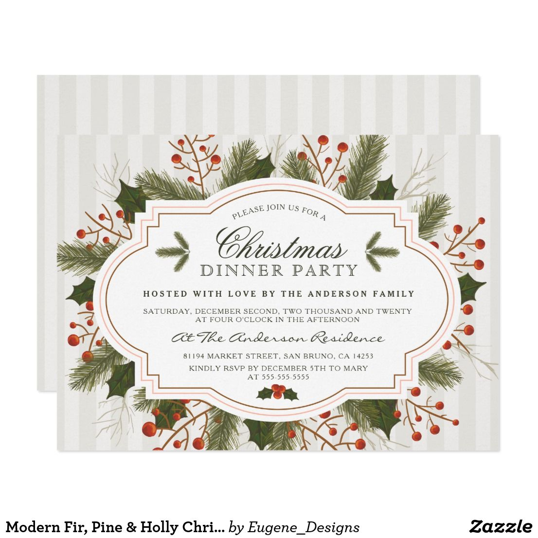 Modern Fir, Pine & Holly Christmas Dinner Party Card | Zazzler\'s ...