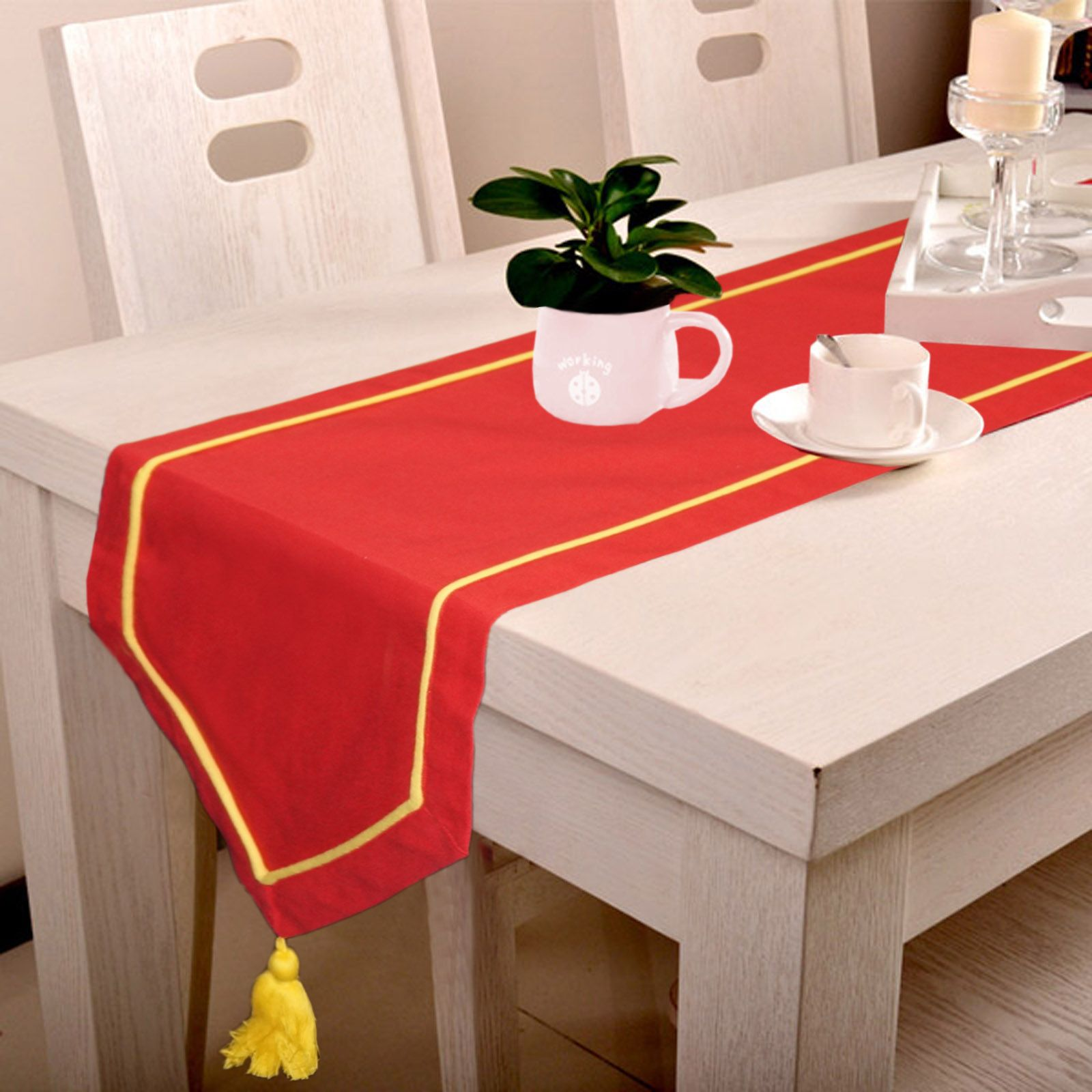 Red Table Runner With Yellow Cord Piping, Namaste Fashion