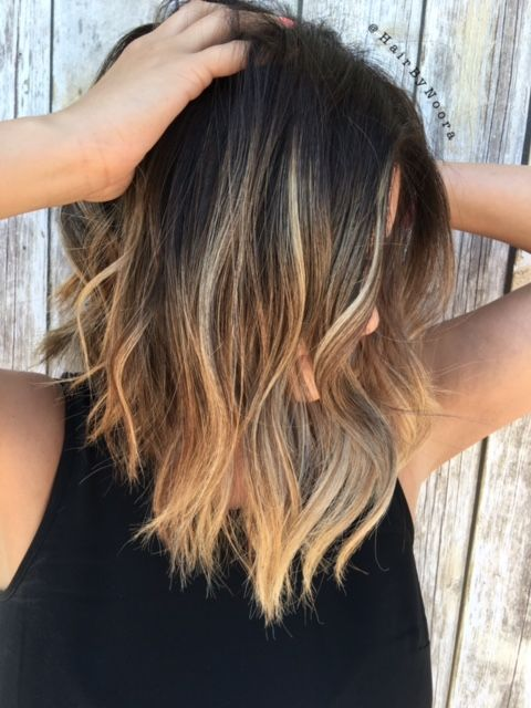HOW,TO Balayage Highlights on Brunette Lob