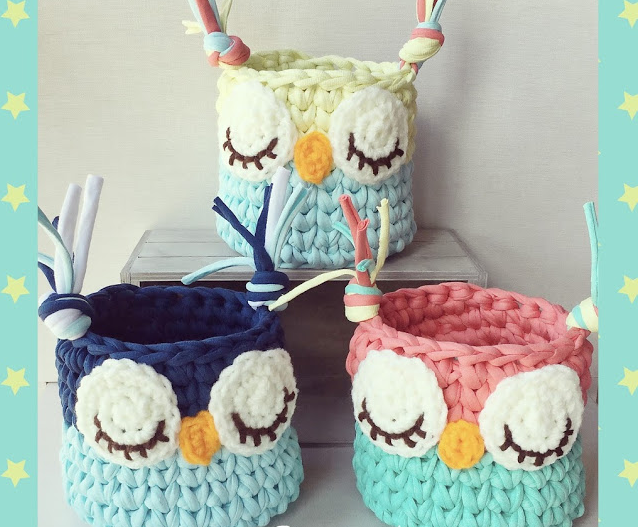 Cesta Búho de Trapillo / tutorial + patrón – Crochet Studio | buhos ...