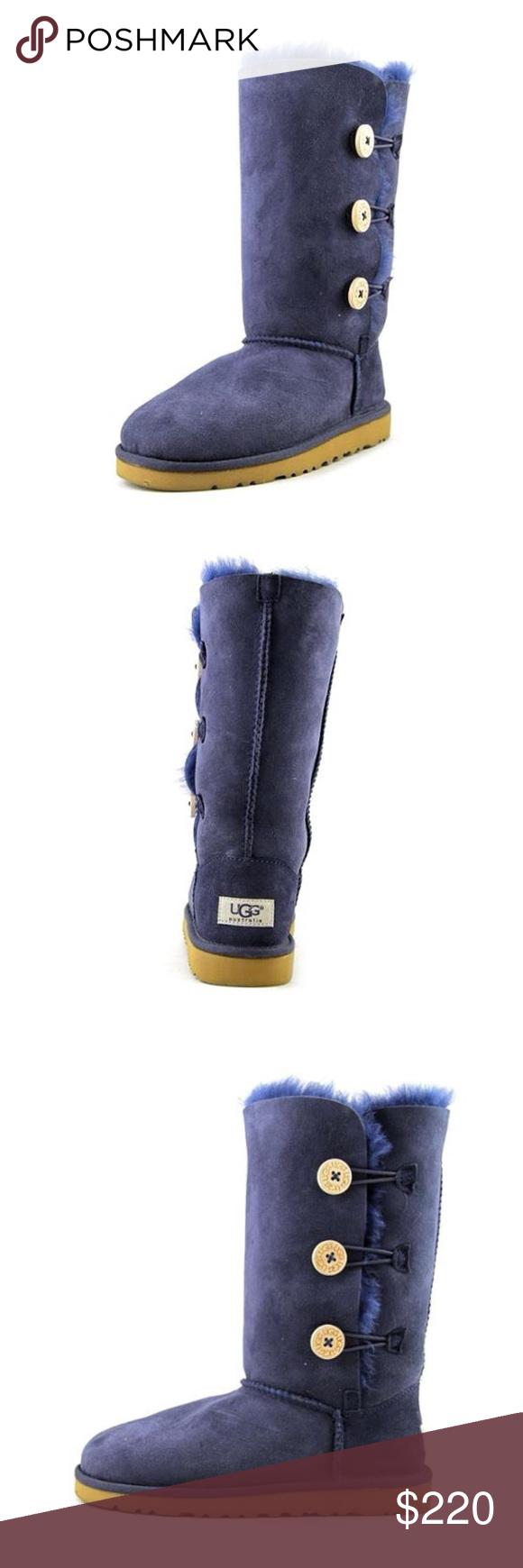 326d4b2f912 Kid's UGG Boots Ugg Bailey Button Triplet Navy Blue Model: 1962K-NVB ...