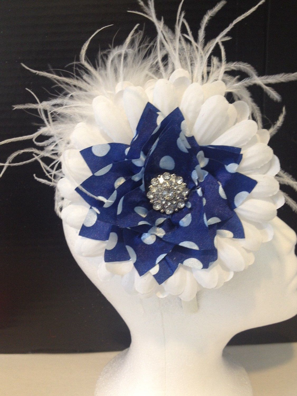 Navy And White Flower Feather Headband Navy And White Polka Dot