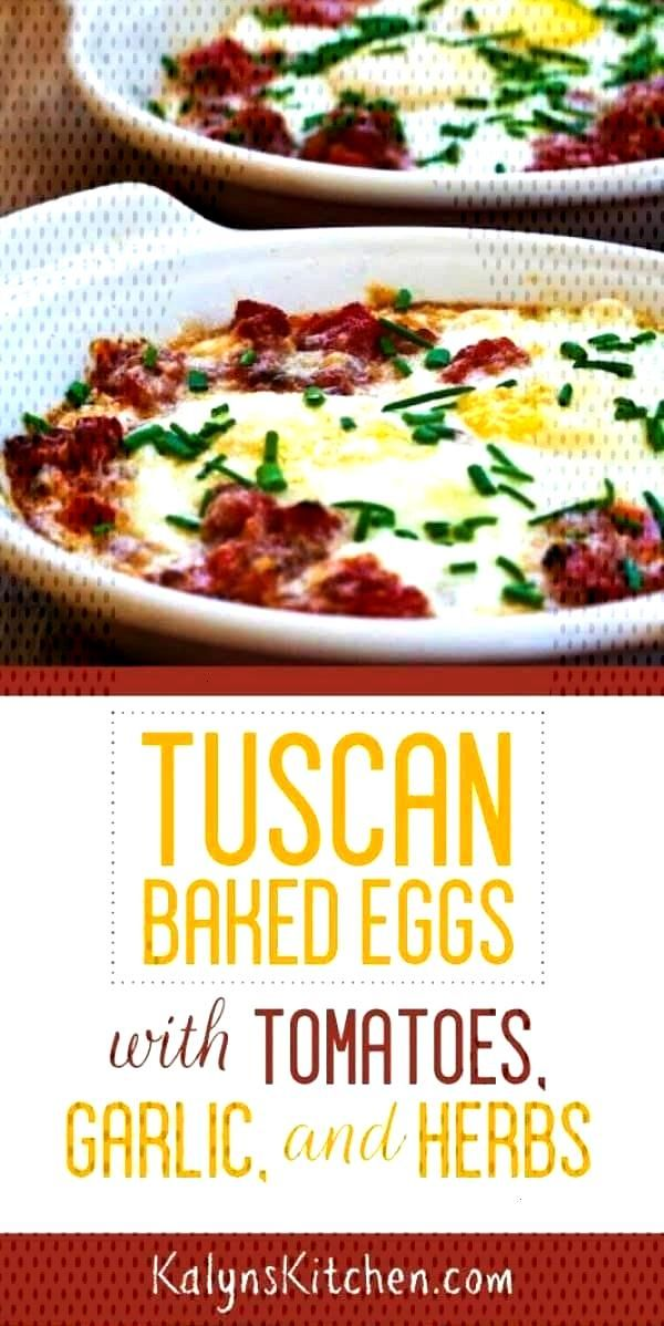 Tuscan Baked Eggs with Tomatoes, Red Onion, Garlic, Parmesan, and Herbs - Kalyns Kitchen - Tuscan