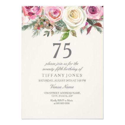 White Rose 75th 76th 77th 78th 79th Birthday Invitation
