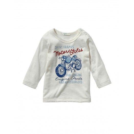 T-shirt manica lunga, in cotone con stampa frontale. Bottoni a pressione sulla spalla.3696MM107 WHITE
