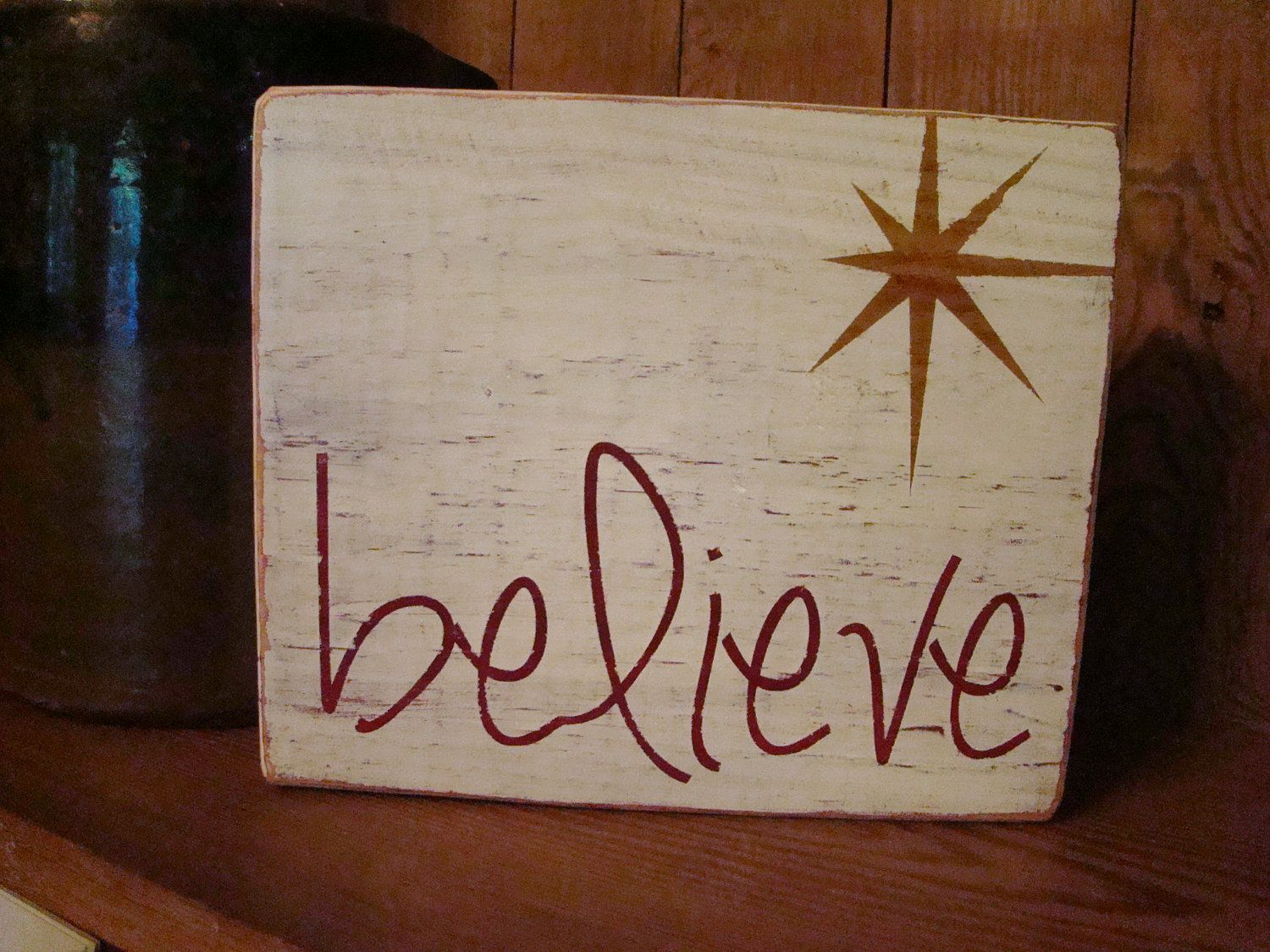 Believe wooden sign via etsy merry christmas for Wood plaques for crafts