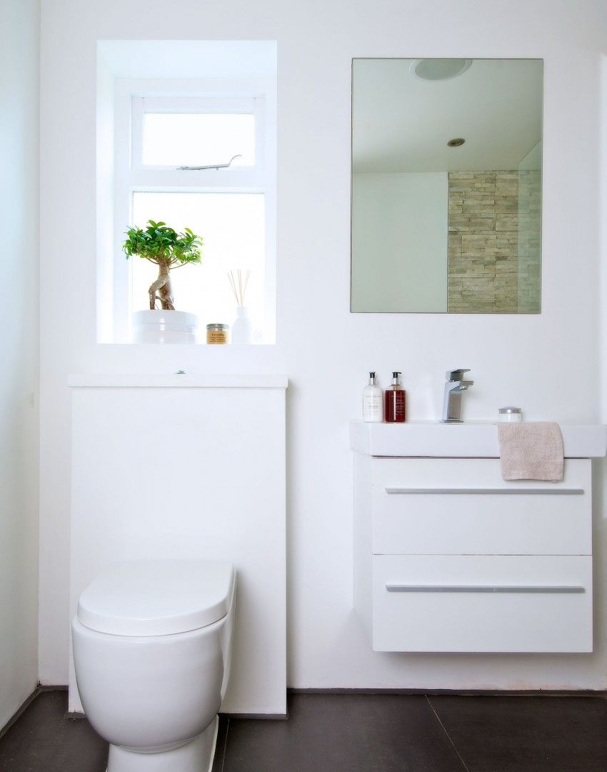 Streamlined Modern Bathroom with Boxed Units. Re-create this look ...