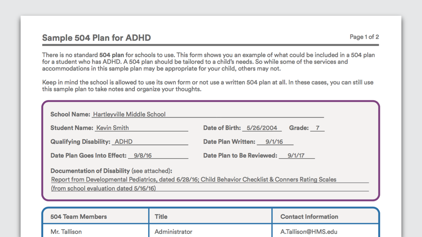 Download Sample  Plan For A Child With Adhd   Plan Adhd