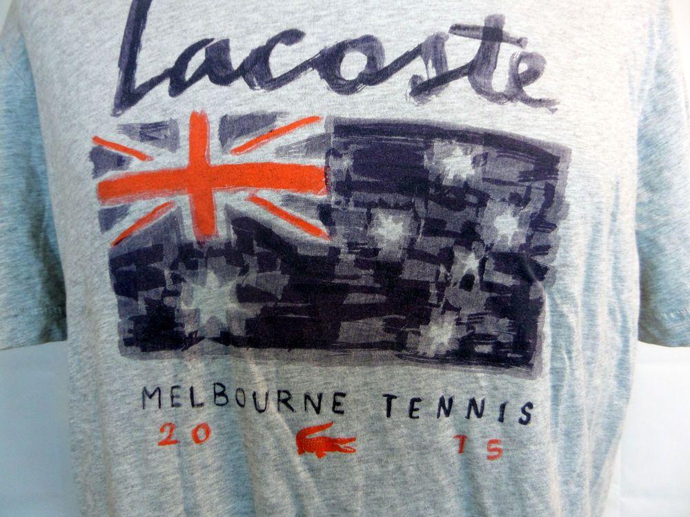 Gray Lacoste Sport T-Shirt Men's Sz 7 Melbourne Tennis 2015 Flag Australia Open #Lacoste #GraphicTee