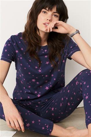 13ba601d47 Buy Navy Pink Star Print Short Sleeve Jersey Pyjamas from the Next UK  online shop