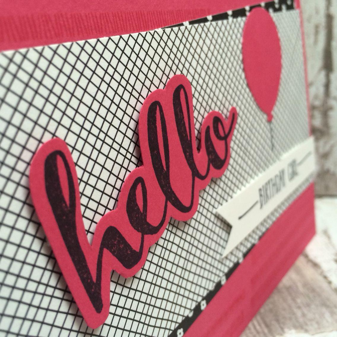 Stampin up, birthday, wassermelone, watermelon, black, schwarz, geburtstag, projekt 3einhalb, hello, SAB, girl