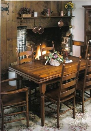 Amish Farmhouse Stowleaf Draw Extension Dining Table | Decoracion ...