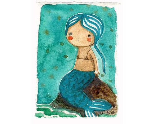20090926 Little Mermaid Watercolor ACEO, via Flickr.