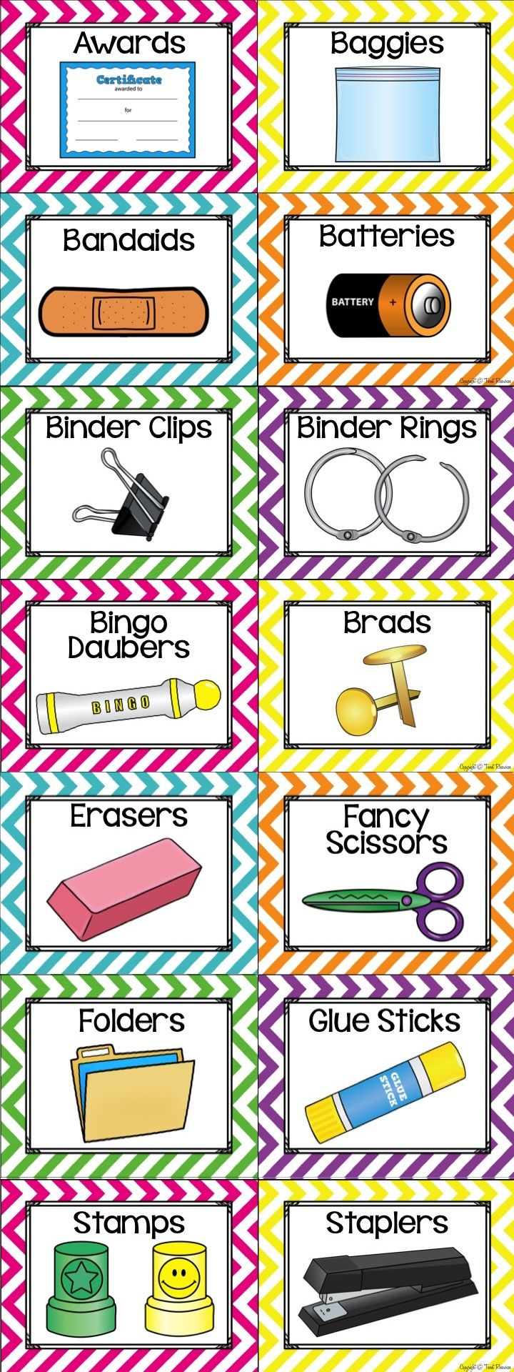 96 illustrated supply labels to decorate your classroom for Room labels