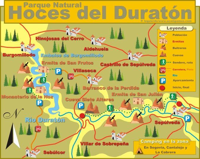 Mapa de las Hoces del Rio Duraton Sepulveda Segovia Castilla y