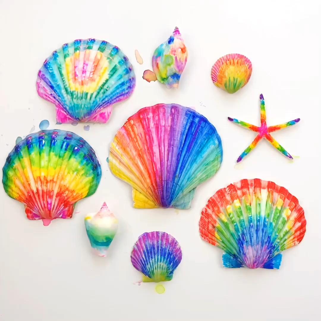 Create beautiful tie-dye shell art using sharpies!