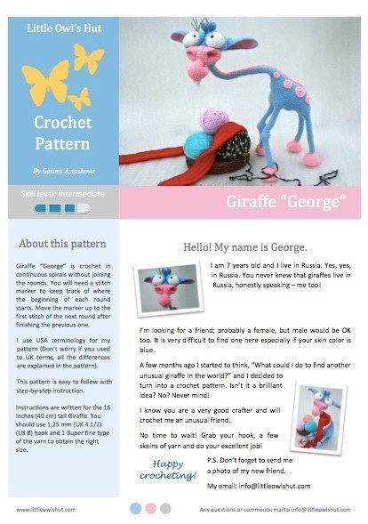 005 Giraffe Crochet pattern PDF file. Amigurumi toy with wire frame. Sculpture. By Astashova #crochetgiraffepattern