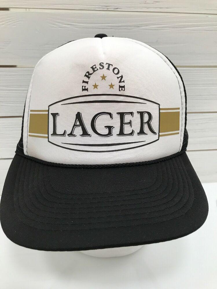 61af3411ab1f0 Firestone Lager Beer Mesh Trucker Hat Snapback Black White Gold  Otto   TruckerHat