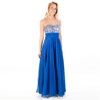 Blondie Nites Juniors Strapless Chiffon Gown with Jeweled Bodice ...