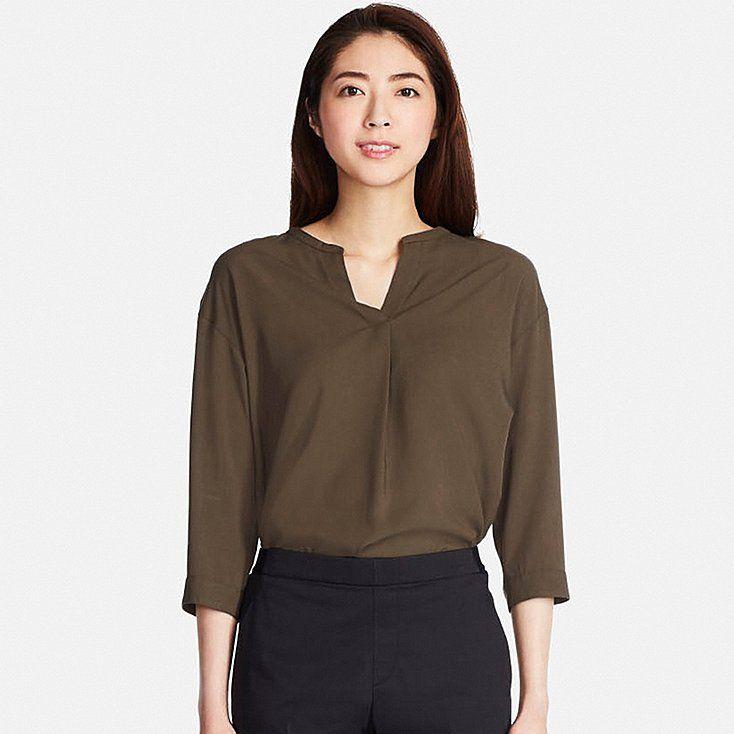 f9dff09c4823c3 Women rayon skipper collar 3/4 sleeve blouse   Summer Wardrobe ...