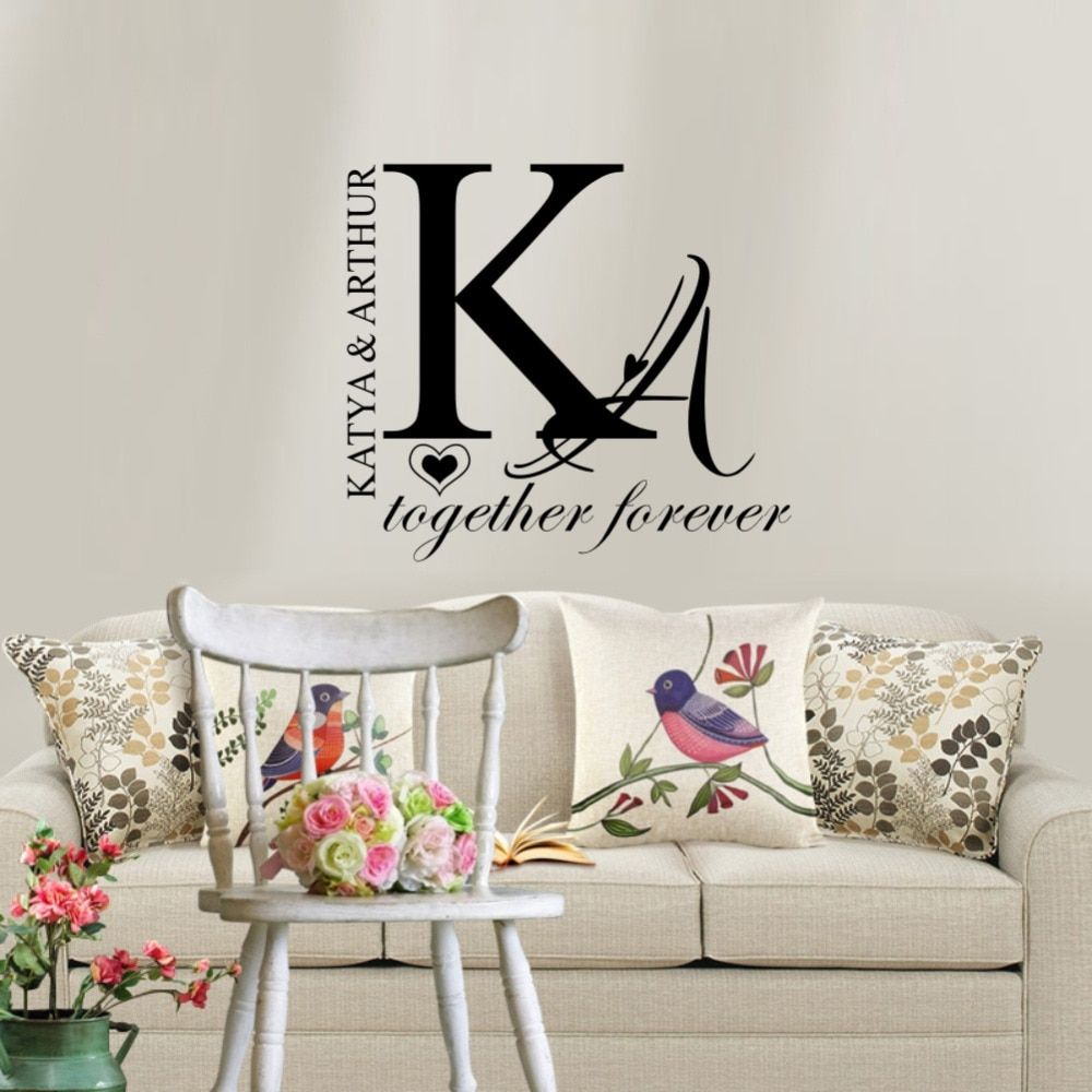 personalized couple name wall sticker creative individual on wall stickers for bedroom id=85623