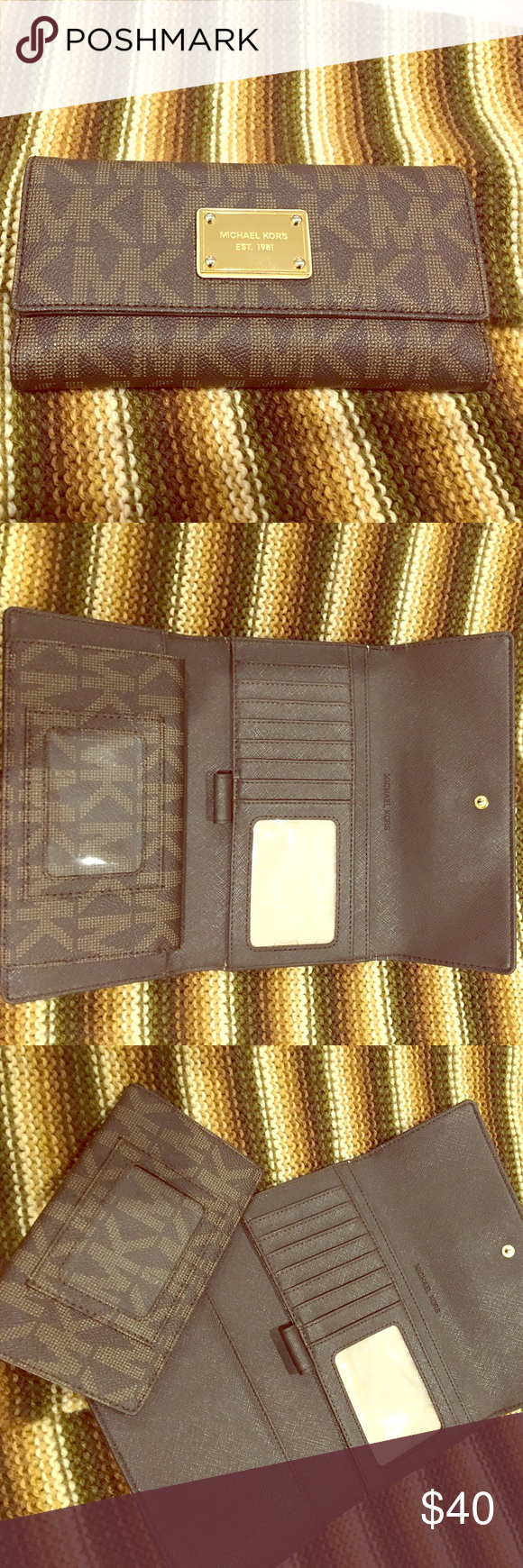 6bfced8083f1b6 MICHAEL Michael Kors Jet Set Checkbook Logo Wallet Wallet with checkbook  cover. Used, some worn signs. Constructed from brown PVC. MK logo print and  ...