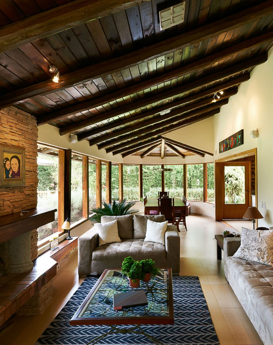 Dream living room design in rustic style with exposed ceiling beams