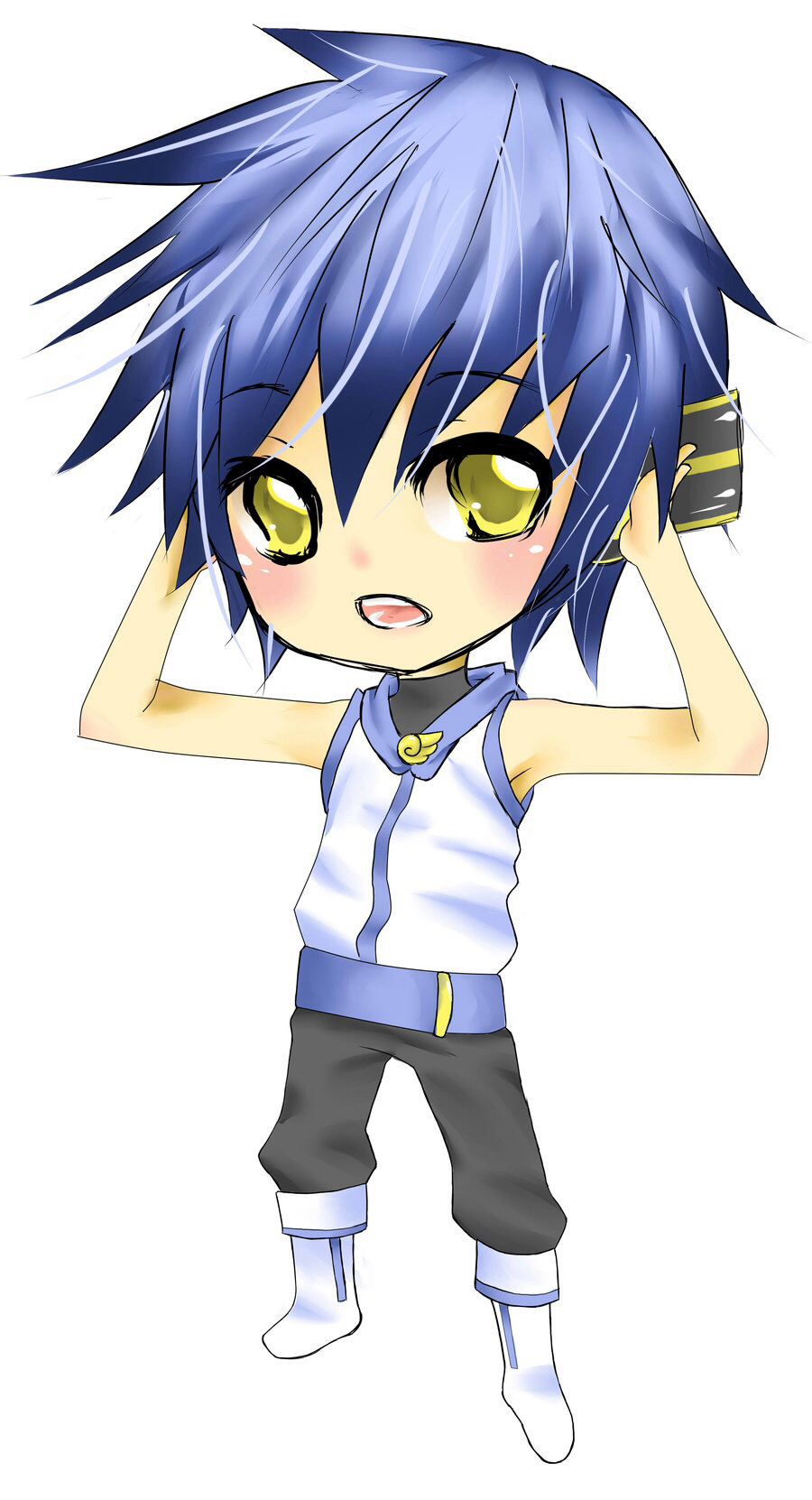 Cute boy with blue hair Anime guys shirtless, Chibi boy