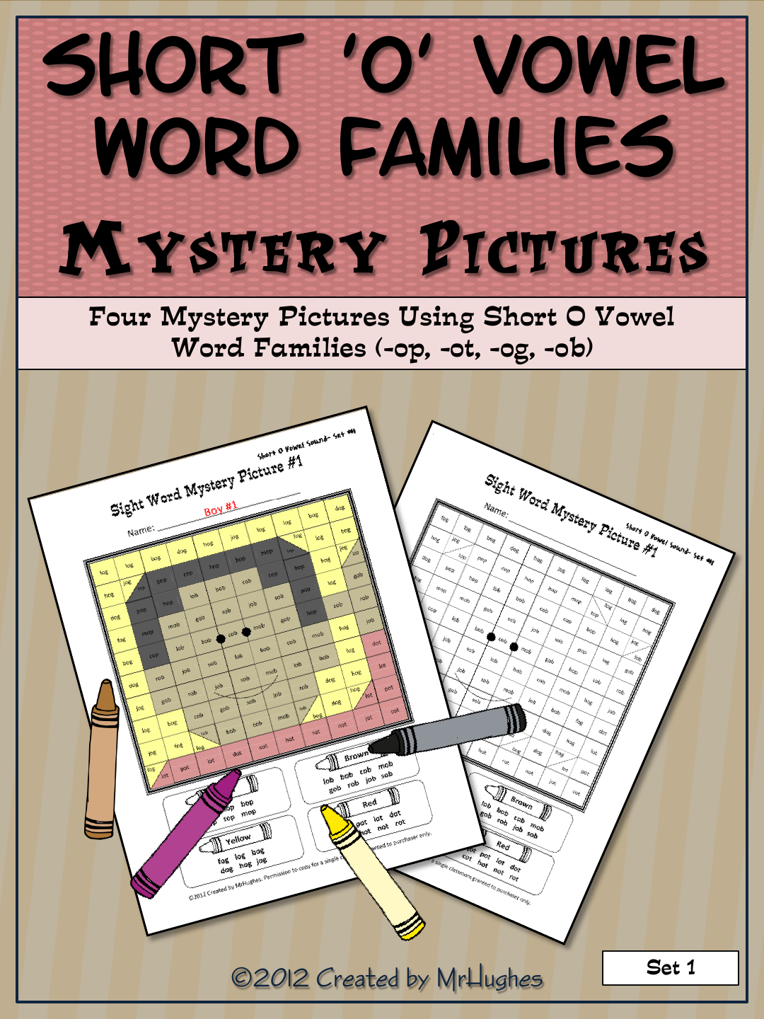 Short O Vowel Word Families Mystery Pictures
