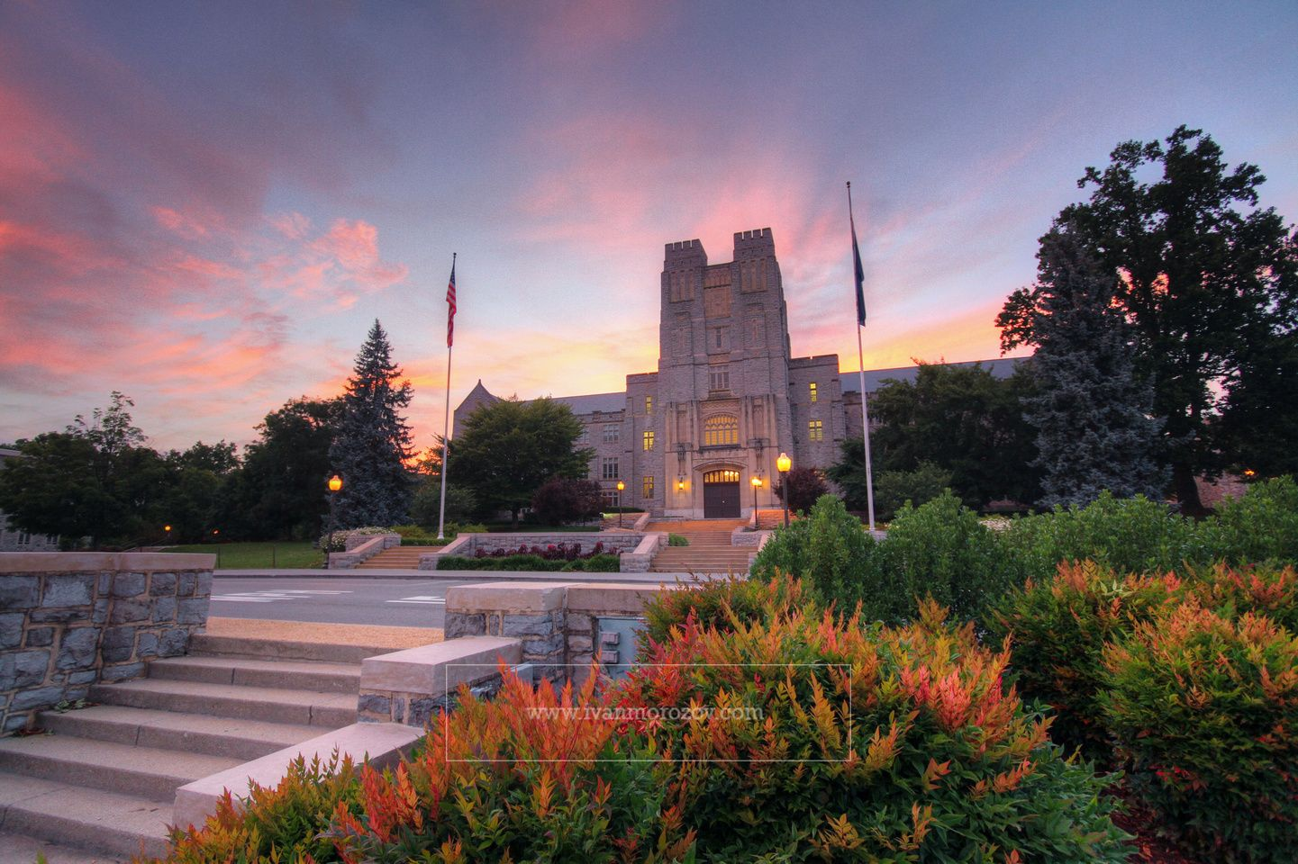 A quiet July evening at Burruss Hall on the campus of