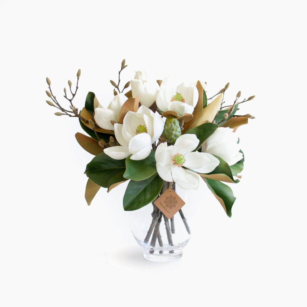 Magnolia And Budding Branch With Images Fake Flowers Fake Flower Arrangements Artificial Flower Arrangements