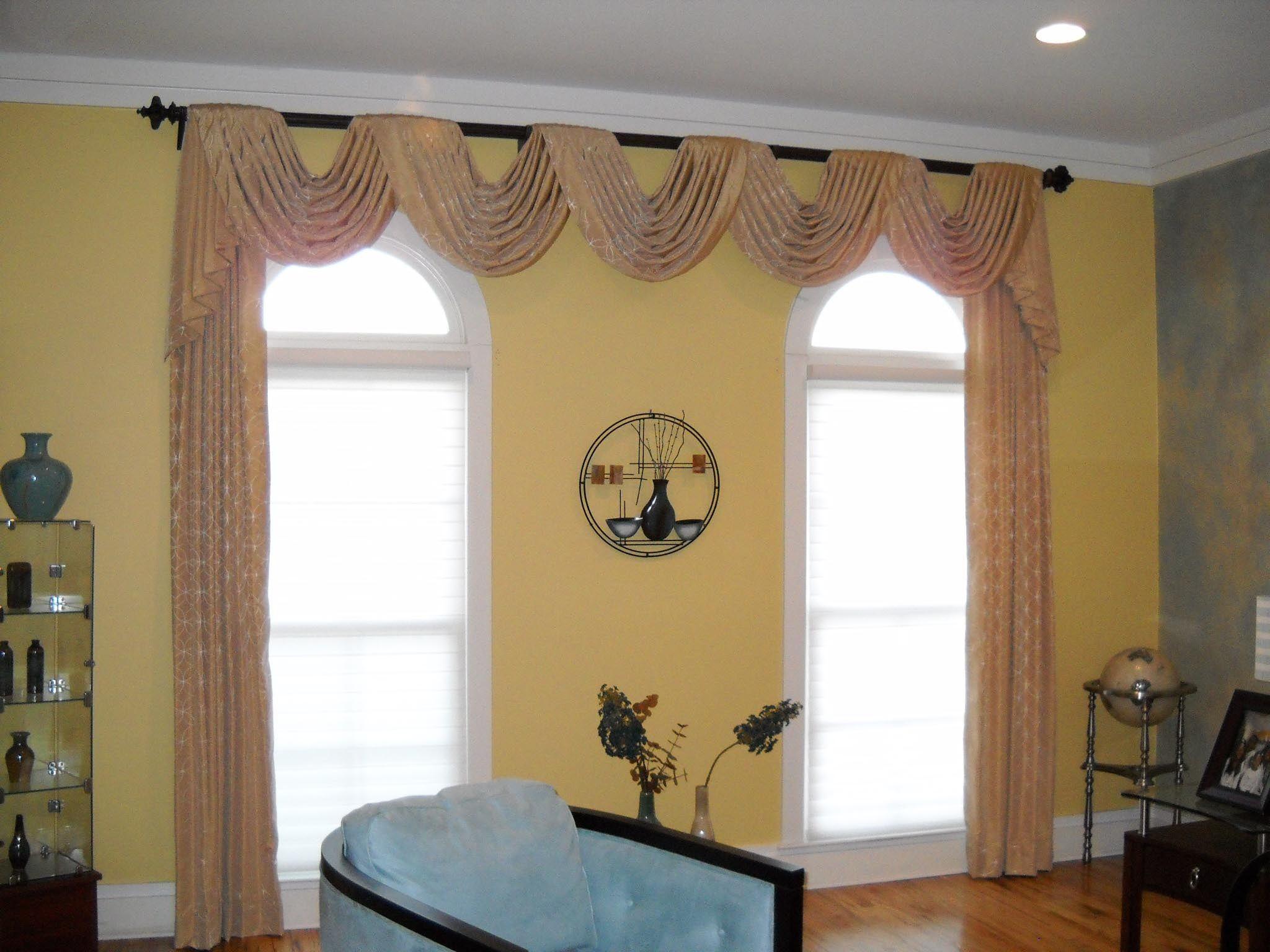 Windowtreatments Pole Swags Panels Treating 2 Single Windows As