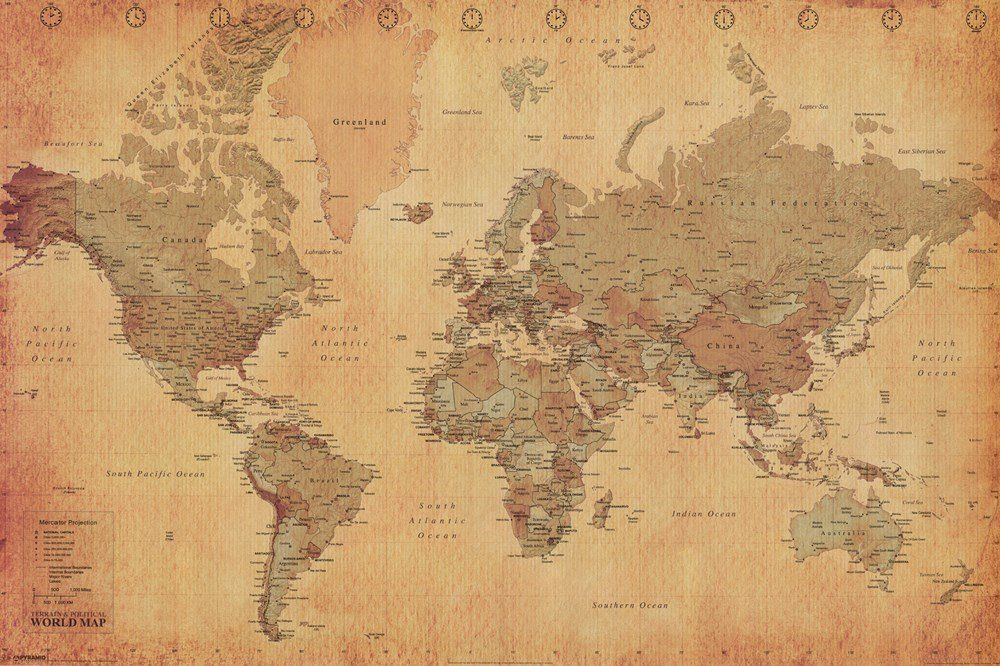 Laminated World Map Vintage Style Poster Print Double Sided Laminate Size 36 X 24 World Map Wallpaper Vintage World Map Poster Antique World Map