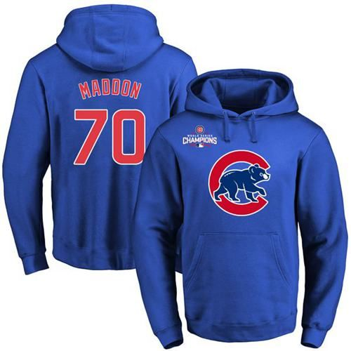 Cubs #70 Joe Maddon Blue 2016 World Series Champions Pullover MLB Hoodie